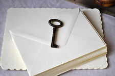 25 A6/C6 Ivory Scalloped Blank Cards & Envelopes 300gsm Cards Wedding Invitation