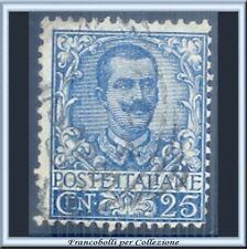 1901 Italia Regno Floreale Vittorio Emanuele III° cent. 25 azzurro n. 73 Usato