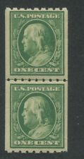 1910 US Coil Stamp #390 1c Mint Hinged Very Fine Original Gum Guide Line Pair