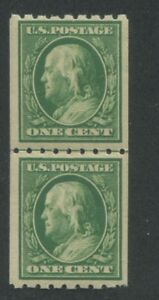 1910 US Coil Stamp #390 1c Mint Never Hinged Very Fine OG Guide Line Pair