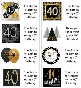 40 x Personalised 40th birthday gold labels/stickers/cake/party/sweets/bag