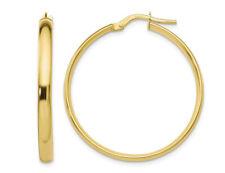 Aro Pendientes De Oro Amarillo 10K 1 1/4 pulgadas (3mm)