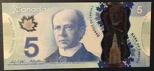Canada $5 Dollars 2013 2015 P106c Wilkins/Poloz Prefix HCV GUNC Polymer Banknote
