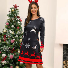 Women's Sexy Xmas Printed Round Neck Long Sleeve Plus Size Christmas Party Dress