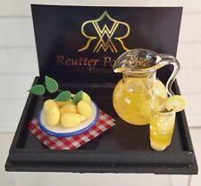 REUTTER Dollhouse Miniature LEMONADE PITCHER GLASS FRESH LEMONS SET