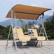 Garden Swing Chair 2 Seater Hammock Patio Outdoor Canopy Cushion Drink Tray