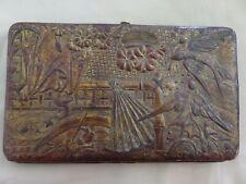 Belle pochette/portefeuille en cuir gauffré doré - Japon XIXème