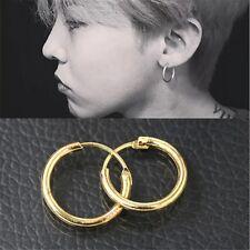 2 Pair Sleek Surgical Stainless Steel Grade Hypoallergenic  Round Hoop Earrings
