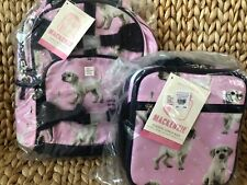 New Pottery Barn Kids Mackenzie Pink Puppy Small Backpack And Classic Lunchbox