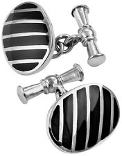 ONYX STRIPED OVAL CUFFLINKS STERLING SILVER 925 HALLMARKED NEW FROM ARI D NORMAN