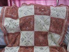 New! Handmade Crochet Blanket Throw Afghan - 42x60 - ivory & terracotta