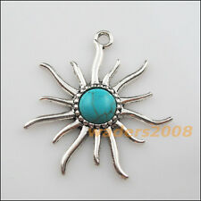 2 New Charms Tibetan Silver Round Turquoise Sun Flower Pendants DIY 41x50mm