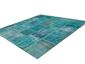 CUSTOM aqua ocean blu vintage Overdyed Rug turquoise  Patchwork Carpet rug