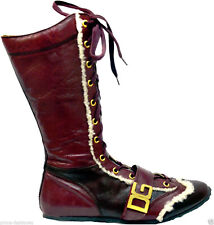 DOLCE & GABBANA Real Fur Trim Lace Up Bicolor Burgundy Leather Ankle Boots