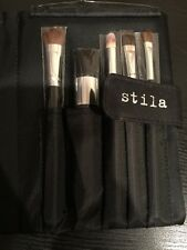 Stila Pro Artist Brush Set 5 Piece Brushes With Pouch Case -New- Free Shipping!!