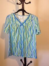 New BLAIR women's v-neck short sleeve blue/ green colorful top blouse size S