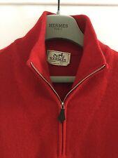 NUOVO senza etichetta Hermes 100% CASHMERE ZIP-Collo/pull in pelle rossa Uomo Maglione Taglia Large