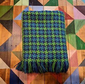 Blue And Green Woven Loom Blanket/ Afghan 60x50 B5