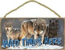 Wild Times Here wood Wolf Sign wall hanging Novelty Plaque Animal Wolves New