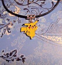 Pikachu Pokemon Pendant Charm Leather Cord Necklace*~Free Ship