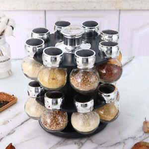 16 Jar Revolving Spice Rack Storage Glass Jars Chrome Lids with Rotating Base