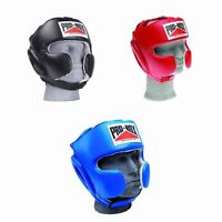 Pro Box Boxing Headguard Super Spar Leather Head Guard Black Blue Red Adult Mens
