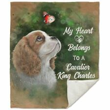 Cavalier King Charles spaniel, Premium Sherpa Blanket - 50x60 inches