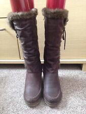 Ladies Next Mid Calf Brown Wedge Boots With Faux Fur Trim Size 4/37