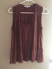 EUC Anthropologie Ro & De Brown Cinammon Lace Crochet Sleeveless Top Blouse M