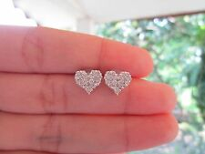 2.75 Carat Face Illusion Diamond White Gold Heart Earrings 18k sepvergara