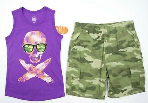 Multi Brand Boys 2 Piece Purple Graphic Tank Green Camo Short Outfit Sz 4/5 NEW