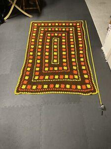 "Vintage Crochet Afghan Knit Blanket Throw Handmade GrannyAppro. 50""x78"""
