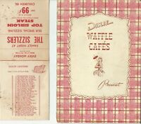 Vintage DIXIE WAFFLE CAFE'S Restaurant Menu Southern California 1950
