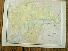 Orig antique 1886 map-Richmond/Manchester Virginia-Peoples Publishing -framable