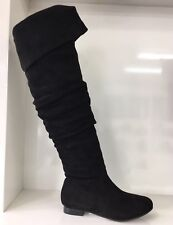 WOMENS LADIES FAUX SUEDE BLACK OVER KNEE THIGH HIGH FLAT SHOES BOOTS SIZE 5