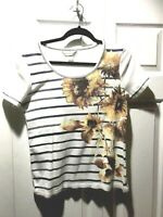 CHRISTOPHER & BANKS Sunflower Floral Tee Top Bling Medium M Small S 36x22