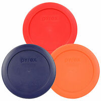 """Pyrex 7200-PC 2 Cup Round 5"""" Storage Lid Cover 3 Pack Red Blue Orange New"""