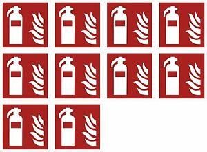 """10xAufkleber Brandschutzzeichen""""Feuerlöscher""""Symbol Schild 5-40cm Folie ISO 7010"""