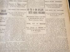 1921 NOVEMBER 8 NEW YORK TIMES - 10 TO 1 ON HYLAN-ODDS RECORD - NT 6151