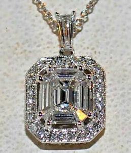 6.00 Karat 14kt Weiss Gold D / VVS1 Asscher Schnitt Diamant Solitär Anhänger
