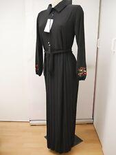 ILMEK robe musulmane longue noire avec broderies manches longues plissée L XL