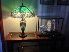 "Table Lamp Tiffany Style 4 Light Green Amber Jewel Stained Glass Shade 24.5"" H"