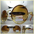 Men's Classy Sophisticated SUN GLASSES Round Gold  Wood Wooden Frame Honey Lens