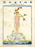 Venus die Schaumgeborene Druck 1923 Karl Arnold Nixe Meerjungfrau Weiblicher Akt