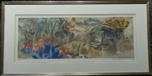 PANG TSENG-YING CHINESE AMERICAN LANDSCAPE BLUE FLOWERS LITHOGRAPH PENCIL SIGNED