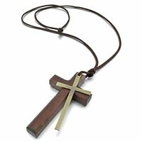 Alloy Leather Wood Pendant Necklace Gold Brown Cross Ring Vintage Retro Adj W4T6