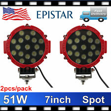 2X 7inch 51W LED Driving Light Round Spot Work Lamp Offroad Truck 4x4WD ATV Jeep