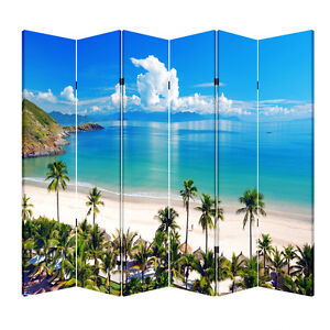 4, 6, or 8 Panel 6ft Tall Canvas Double Sided Folding Screen Divider- Beach Huts
