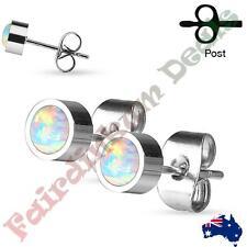 Pair of 316L Surgical Steel Bezel Set Opal Stud Earrings