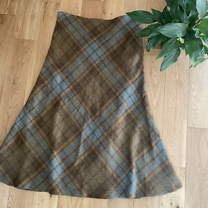 House of Bruar 18 brown checked tweed wool smart long occasion skirt midi length